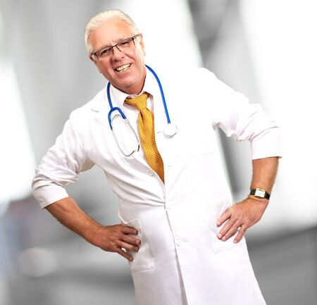 Happy Senior Doctor With Stethoscope, Indoor Stock Photo - 16289181