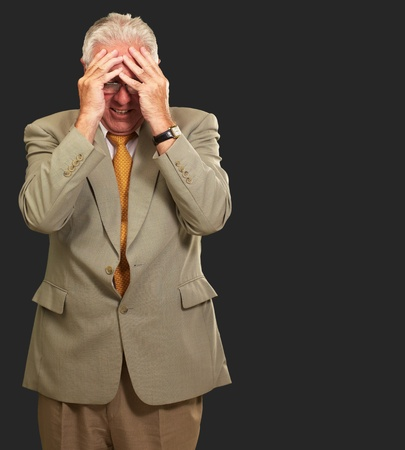 Senior Business Man In Tension Isolated On Black Background Stock Photo - 16290765