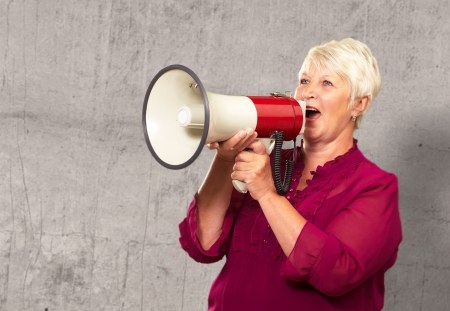 Portrait Of A Senior Woman With Megaphone, Background photo