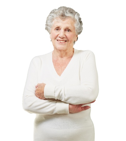 Portrait Of A Senior Woman On White Background photo