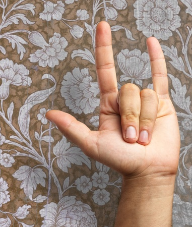 yo: Gesturing Human Hand isolated on a floral pattern background Stock Photo