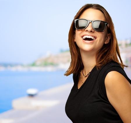 ourdoor: Portrait Of Happy Woman, outdoor Stock Photo