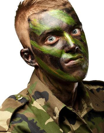 portrait of a mad soldier against a white background Stock Photo - 16690480