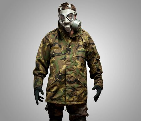 security vest: Soldier With Gas Mask against a grey background