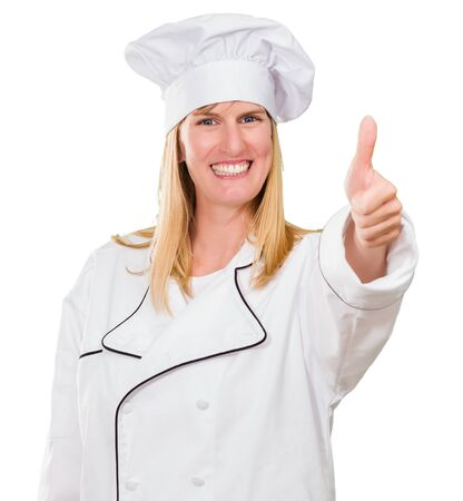 Chef Woman Showing Thumb Up Isolated On White Background Stock Photo - 16671733