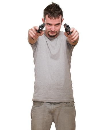 Portrait Of A Man Holding Gun Isolated On White Background Stock Photo - 16672558