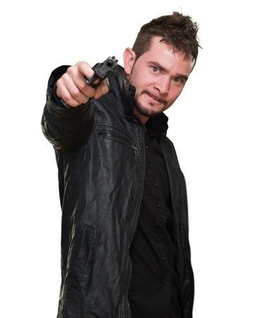 mad man pointing with gun against a white background Stock Photo - 16672346