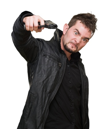 furious man pointing with a gun against a white background