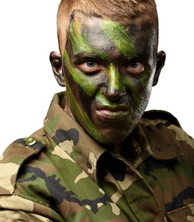 Close Up Of Angry Soldier On White Background photo