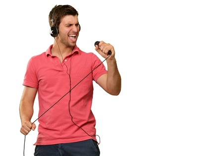 man screaming: Young Man With Headphone Isolated On White Background