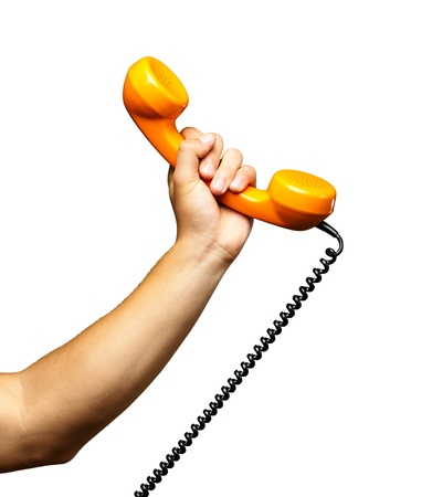 Close Up Of Hand Holding Telephone On White Background Archivio Fotografico