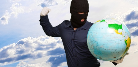 Burglar Man Punching Globe, Outdoors photo