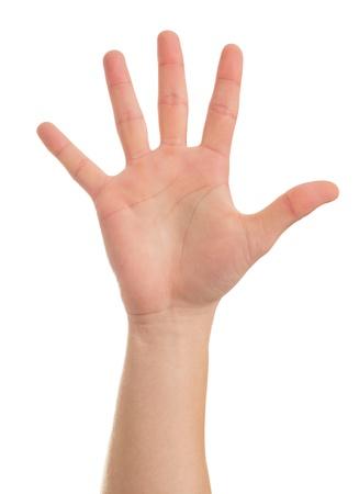 partes del cuerpo humano: Primer plano de la mano del hombre aislado en fondo blanco Foto de archivo