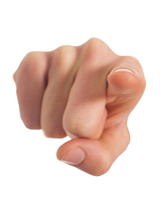 index finger: Close-up Of Human Hand Pointing Over White Background Stock Photo