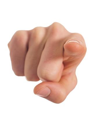 dedo indice: Primer plano de una mano apuntando sobre fondo blanco Foto de archivo