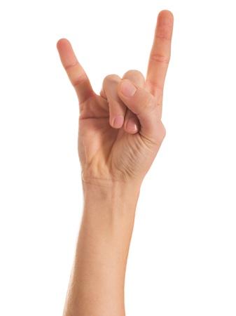 yo: Human Hand Gesturing Hand Sign On White Background
