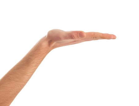 nothing: Close-up Of Human Hand Presenting On White Background