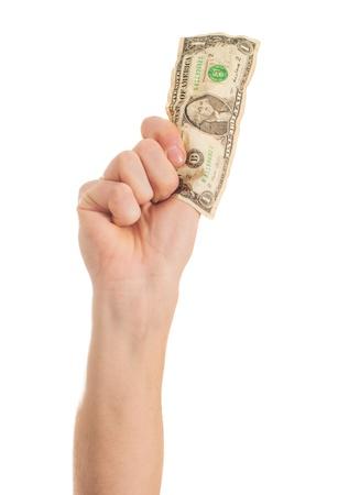 Close-up Hand Holding Us Dollars On White Background photo