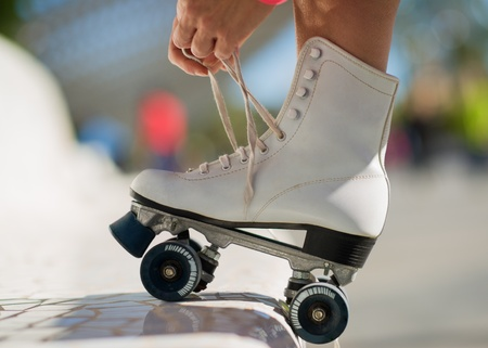 Close-up Of Legs Wearing Roller Skating Shoe, Outdoors Фото со стока - 22036507