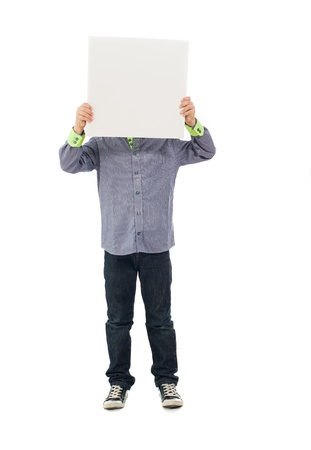 obscured face: Portrait Of Boy Holding Placard Isolated On White Background