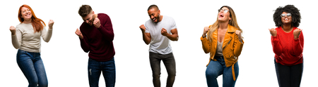 Group of cool people, woman and man happy and excited celebrating victory expressing big success, power, energy and positive emotions. Celebrates new job joyful Stock Photo