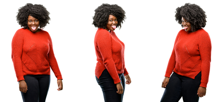 Young beautiful african plus size model sticking out tongue at camera at sign of disobedience, protest and disrespect isolated over white background. Collection composition 3 figures collage