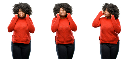 Young beautiful african plus size model covering ears ignoring annoying loud noise, plugs ears to avoid hearing sound. Noisy music is a problem. isolated over white background. Collection composition 3 figures collage