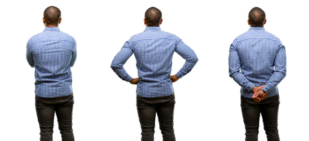 African american man with beard backside, rear view
