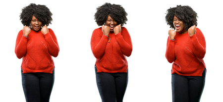 Young beautiful african plus size model happy and excited expressing winning gesture. Successful and celebrating victory, triumphant isolated over white background. Collection composition 3 figures collage
