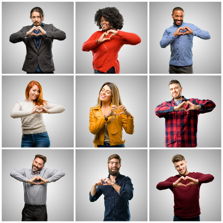 Group of mixed people, women and men happy showing love with hands in heart shape expressing healthy and marriage symbol