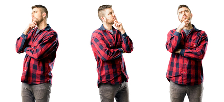 Young man thinking and looking up expressing doubt and wonder isolated over white background, collage composition