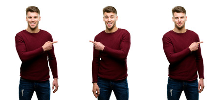 Handsome blond man pointing away side with finger isolated over white background
