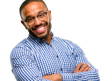 African american man with beard with crossed arms confident and happy with a big natural smile laughing isolated over white background