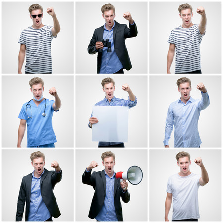 Collage of handsome young man wearing differents outfits annoyed and frustrated shouting with anger, crazy and yelling with raised hand, anger concept Archivio Fotografico