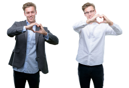Young handsome blond business man wearing different outfits smiling in love showing heart symbol and shape with hands. Romantic concept. Archivio Fotografico