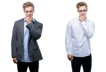 Young handsome blond business man wearing different outfits looking confident at the camera with smile with crossed arms and hand raised on chin. Thinking positive. Archivio Fotografico