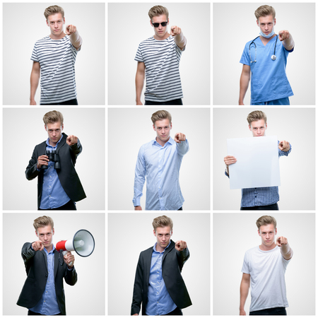 Collage of handsome young man wearing differents outfits pointing with finger to the camera and to you, hand sign, positive and confident gesture from the front