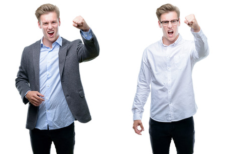 Young handsome blond business man wearing different outfits angry and mad raising fist frustrated and furious while shouting with anger. Rage and aggressive concept. Stock fotó