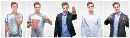 Collage of handsome blond man wearing different outifits