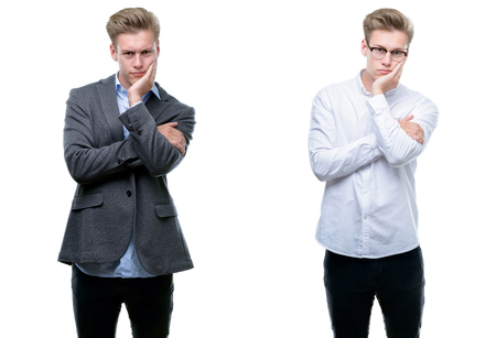 Young handsome blond business man wearing different outfits thinking looking tired and bored with depression problems with crossed arms. Archivio Fotografico