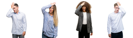 Team of business men and women surprised with hand on head for mistake, remember error. Forgot, bad memory concept. Stockfoto