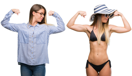 Young beautiful blonde woman wearing business and bikini outfits showing arms muscles smiling proud. Fitness concept.