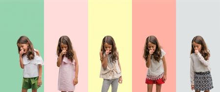 Collage of brunette hispanic girl wearing different outfits feeling unwell and coughing as symptom for cold or bronchitis. Healthcare concept. Stock Photo