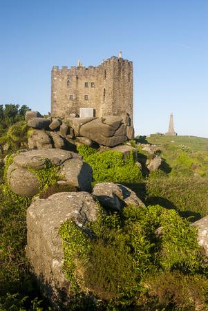 Carn brea castle on top of Carn brea hill, Cornwall, England