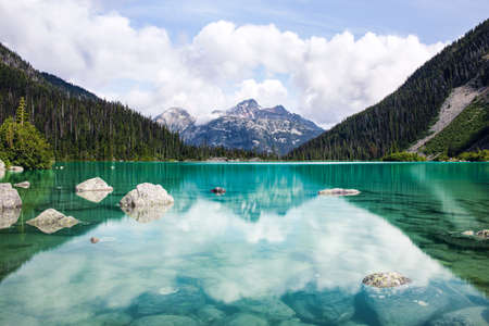 Beautiful blue water from Joffre Glacier fills Upper Joffre Lake at the Joffre Lakes Provincial Park in British Columbia, BC. A crystal clear reflection mirros mountains and forest in the background.