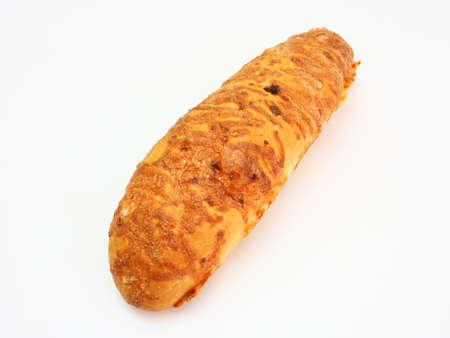 baguet: The ruddy long loaf of bread is strewed by cheese isolated on a white background Stock Photo