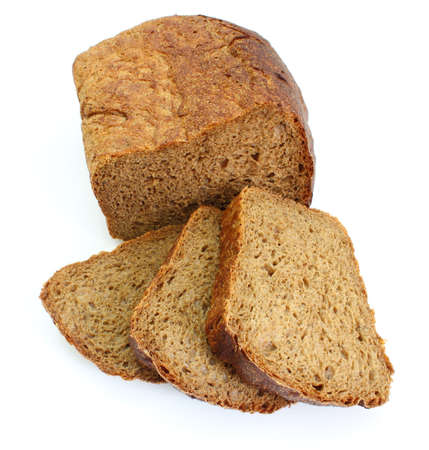 Black rye bread with the fried crust is isolated on a white background photo