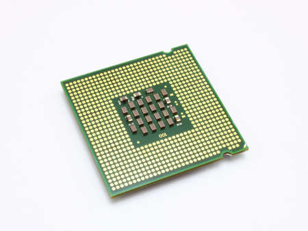 cpu: The computer the processor on a white background is isolated gold color with a microcircuit