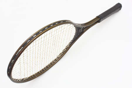 tennis racket: Tennis racket of brown color on a white background