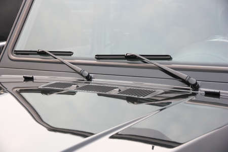 accelerated: The close up of car windwhield wiper